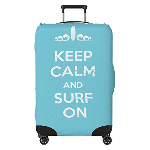 Keep Calm Surf Suitcase Cover Protector Skin Blue Large 30' - 32' (Suitcase Not Included)