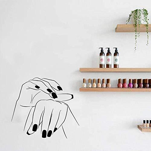 64X57Cm Sticker Manucure Vinyle Autocollant Main Salon De Beauté Ongles Cosmétique Coiffure Wallpape Pour Nail Bar Studio