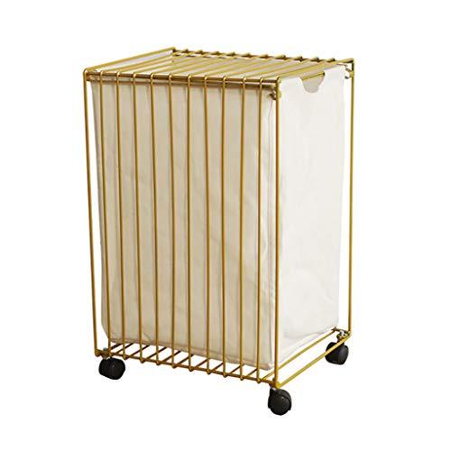LwLaundry Basket wasmand goud-kleding-geheugenmand, ijzeren vuile mand voor wasruimte, badkamer, veranda en woonkamer.