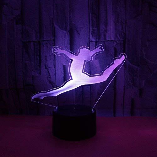 3D Gimnasia ilusión Optica Lámpara Luz Nocturna 7 Colores Cambiantes Touch USB de Suministro de Energía Juguetes Decoración Regalo de Navidad Cumpleaños