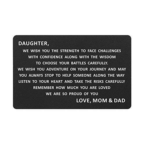 Daughter Wallet Insert Card from Mom and Dad, Personalized Engraved Metal Wallet Insert Birthday Card for Girl (Daughter, Love Mom&Dad)