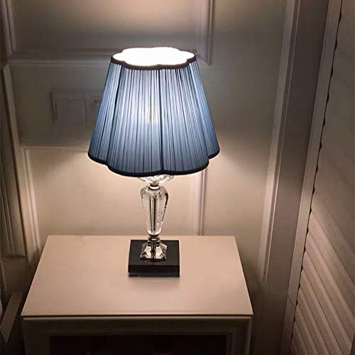 FHUA Lámpara Escritorio Lámpara Luz Luz Lámpara de Mesa de Cristal de Lujo Dormitorio Romántico Boda Cálida Dimmable Dimmable Azul Lámpara de Noche