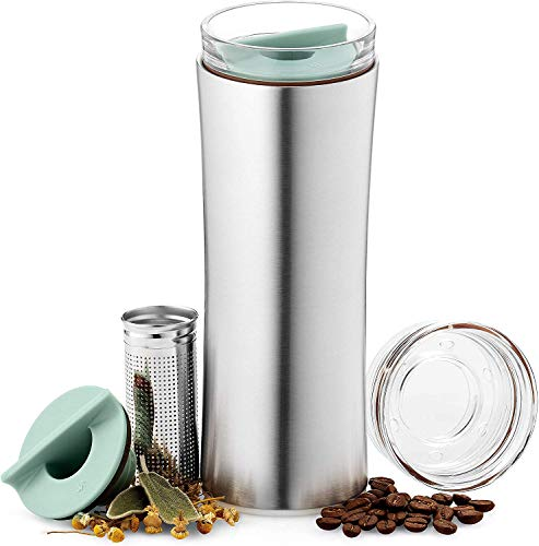 JVR Tea Tumbler with Infuser [updated filter] | 16-oz Loose Leaf Tea Infuser Bottle | Double-wall Vacuum Insulated Stainless Steel Coffee Tea Thermos | Leak-proof Travel Tea Mug