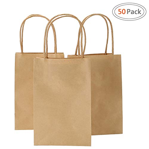 Ronvir 5.25x3.25x8 Inches 50pcs Kraft Brown Paper Bags with Handle, Retail Shopping Bag, Craft Paper Bag, Merchandise Bag, Gift, Party Bag