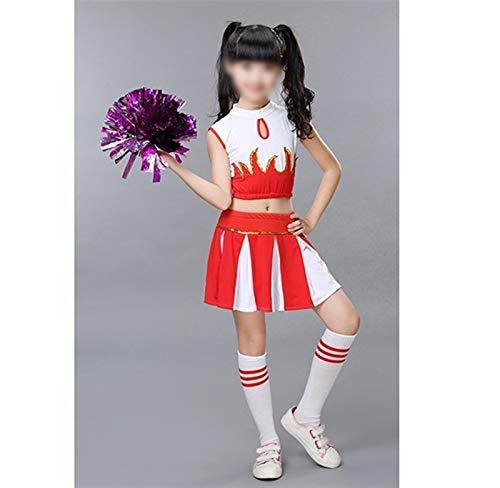 MAXIAOTONG Cheer Traje de Partido del Carnaval Traje niño niños niñas niños Animadora Escuela Disfraz de Cosplay del Vestido de la Ropa (Color : Rojo, Size : 150cm(140 150))