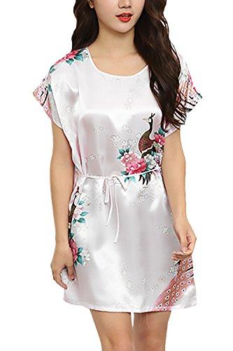 Pijamas Mujer Corto Verano Manga Corta Cuello Redondo Elegante Vestido Pijama Homewear Moda Ropa Sleepwear Fiesta Impresión Floral Casuales Baño Confort Camison Cinturón