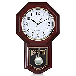 WallarGe Pendulum Wall Clock,Grandfather Wall Clock,19 x 11.5,Battery Operated Schoolhouse Clocks,Music Chime Every Hour,12 Melodies,Decorative Wall Clock for Livingroom,Study or Office.