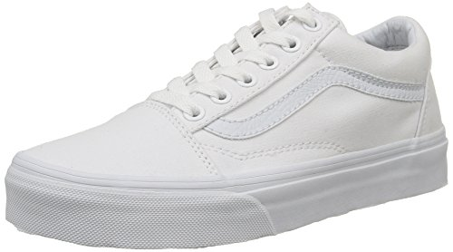 Vans Unisex Old Skool Classic Skate Shoes, True White, 6.5 Women/5 Men