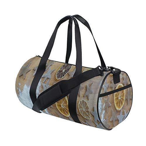 ZOMOY Sporttasche,Getrocknete orange Scheiben u. Gebackener Lebkuchen warten auf Weihnachten auf Holztisch,Neue Bedruckte Eimer Sporttasche Fitness Taschen Reisetasche Gepäck Leinwand Handtasche