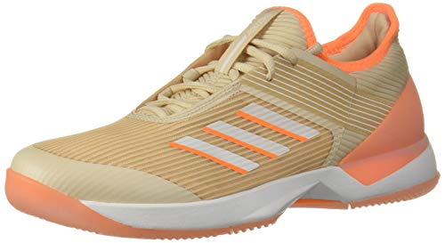 adidas Women's Adizero Ubersonic 3 Tennis Shoe, Linen/White/Flash Orange, 11 M US