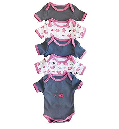 Body para bebé Slumbersac de manga corta Pink Elephant, Pack de 5 Talla: 80cm/9-12 Meses