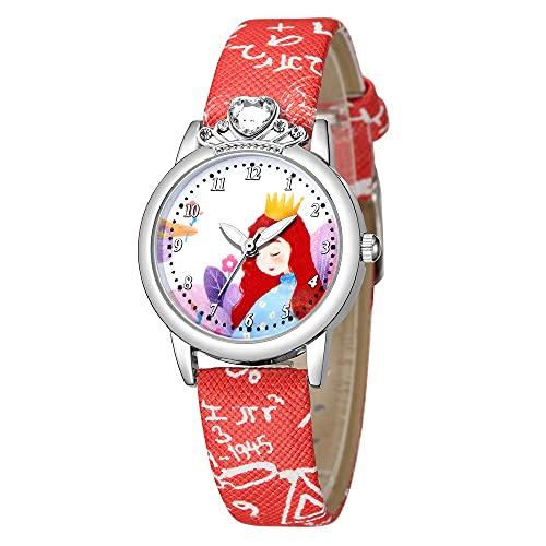 CXJC Reloj de Diamantes de imitación con Incrustaciones de 5-12 años de Edad, Lindo y Dulce Estilo de Cuarzo de Estilo Princesa, 6...