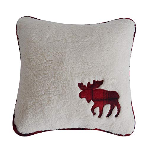 Simple red and black plaid cushion cover white lamb velvet applique embroidered square pillowcase@Cushion cover + inner core_45*45cm