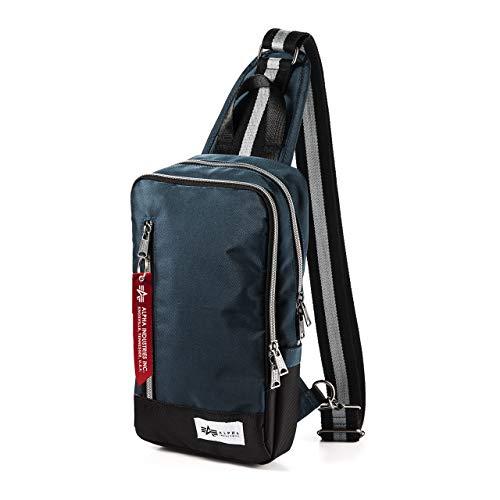 [アルファ インダストリーズ] ボディバッグ ショルダーバッグ 3ポケット 長財布/ペットボトル 収納 マット生地 ネイビー 200-BAG128NV