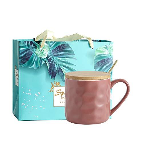 Heliansheng Taza de cerámica de Pareja con Tapa y Cuchara Taza de Agua Creativa para el hogar Taza de café Simple -D019-301-400ml-G684