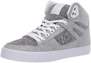 DC Men's Pure HIGH-TOP WC TX SE Skate Shoe, Grey/Grey/White, 8 D M US