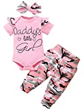 Shalofer Baby Girl Daddy's Girl Outfit Set Newborn Camouflage Romper with Headband (Pink02-shirt Sleeve,0-3 Months)