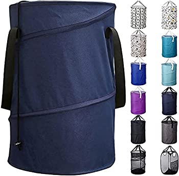 Bagail 85L Pop Up Laundry Hamper Bucket Cylindric Foldable Clothes Bag Folding Washing Bin,Large Capacity Collapsible Drawstring Closure Polyester Laundry Storage Basket with Handles Navy