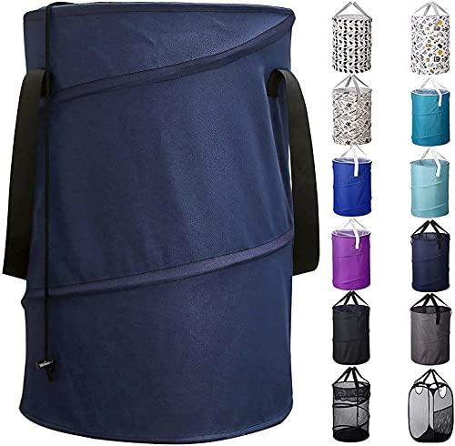 Bagail - Cesto portabiancheria pop-up con chiusura a cordoncino, grande capacità, pieghevole, in poliestere, con maniglie, colore: blu navy