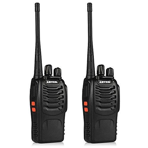 Artek BF-888S BF888S Rechargeable Long Range Walkie Talkie 16 Channels Two Way Radio with earpiece (1 Pair), Black