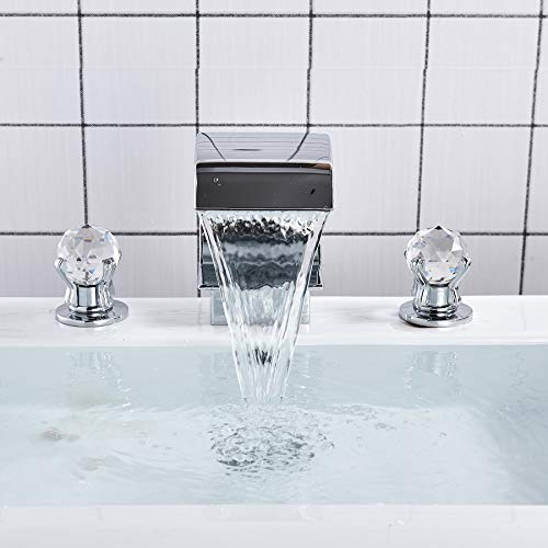 Rozin Arc Waterfall Spout Bathtub Filler Faucet 2 Crystal Knobs Vanity Basin Mixer Tap 8-inch and upwards Widespread Chrome Finish