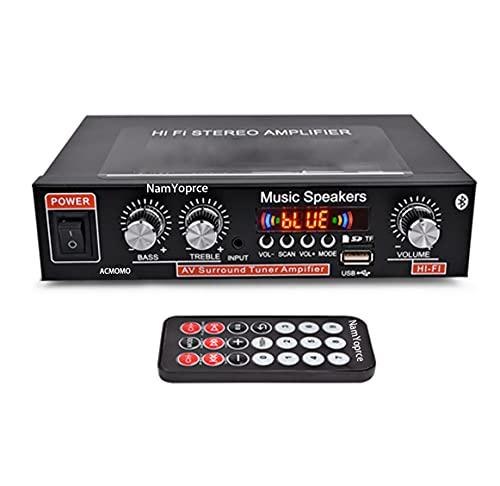 600W Mini amplificatore di potenza Bluetooth, Amplificatore digitale stereo Hi-Fi 2.0 con ingresso AUX/USB/Bluetooth, Ricevitore wireless Home Car audio, Regolazione bassi acuti