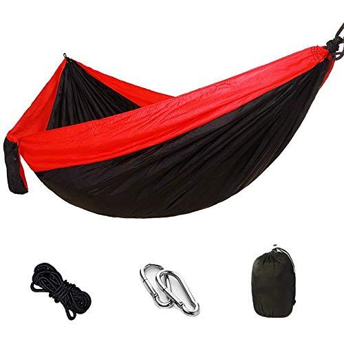 Hamac Parachute Camping Randonnée Extérieur Tente Antenne Hamac avec Sac de Rangement avec Ceinture Exclusive avec Mousqueton Hamac pour Jardin Balcon Rouge et Noir