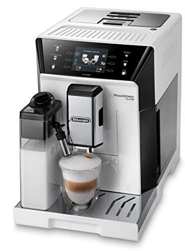 De'Longhi PrimaDonna Class ECAM 556.55.W Kaffeevollautomat mit Milchsystem, Cappuccino und Espresso auf Knopfdruck, 3,5 Zoll TFT Farbdisplay und App-Steuerung, weiß
