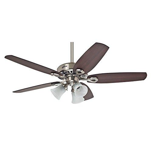 Hunter Fan Builder Plus Ventilador de techo con luz níquel pulido E27, 14 W, 132 cm