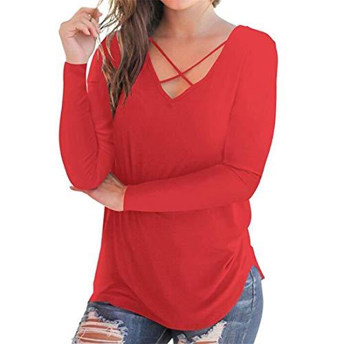 MENAB Women's Sexy Casual Loose Long Sleeve Jumper Baggy V-Neck Tops Blouse T-Shirt Plain Round Neck Long Sleeve Loose Fit T-Shirts with Crossed Front Design Blouse Tops Long Sleeve T-Shirt