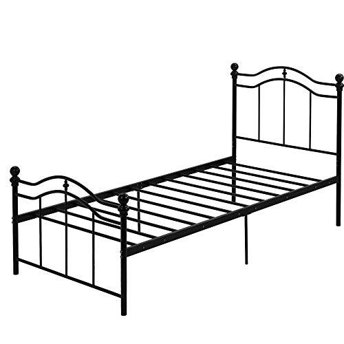 Marco de Cama de Metal Cama Individual Estructura de Cama Cama articulada para Dormitorio Habitación de Huéspedes Negro (90 x 200 cm)