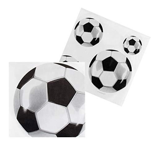B-Creative Voetbal Voetbal Partij Decoratie Partyware Tafelgerei World Cup Bunting Ballonnen (12 Pack Wit Papier Servetten Ongeveer 33x33cm)