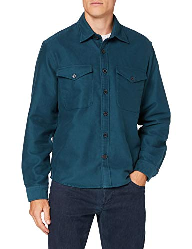 Tommy Hilfiger Moleskine Overshirt Camicia, Lakeside, L Uomo