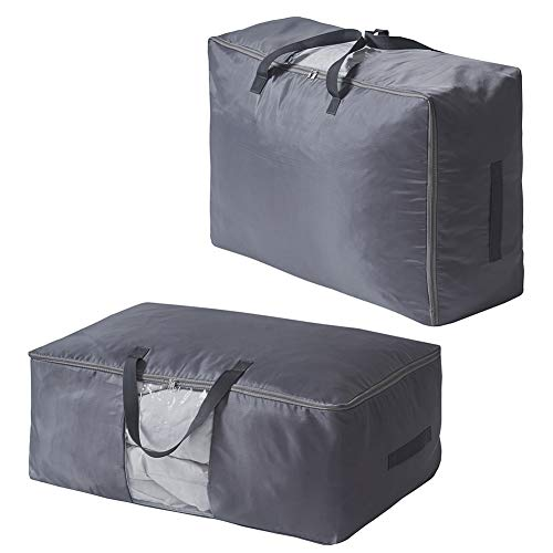 SCM 2 Pack Duvet Storage Bag with Zips Grey - Four Carry Handles - Clear Window Design - Grey Large Capacity Under Bed Storage Bag for Comforters, Blankets, Bedding, Clothes, Quilts