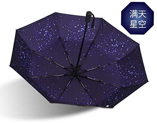 Persönlichkeit Vollautomat Regenschirm Frauen Männer 3 Taschenschirme Reisebranche Regenschirme Rainy Sunny @Starry Sky