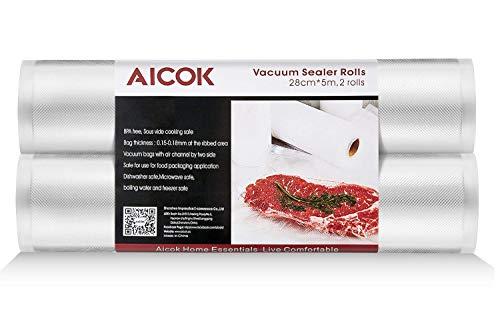 Aicok Rollos Envasado al Vació, 2 Rollos 28 x 500 cm, Bolsas al Vacío para Envasadora, Rollos Bolsas para el Almacenamiento de Alimentos y Envasadoras al Vacío, Libre de BPA