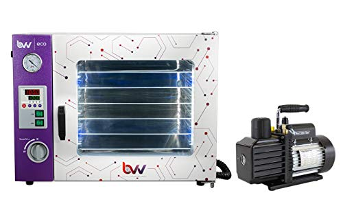 BVV- 1.9 Cubic Feet Eco Vacuum Oven- 4 Wall Heating, LED Display, LED's- 5 Shelves Standard with VE225 4CFM Two Stage Vacuum Pump Kit