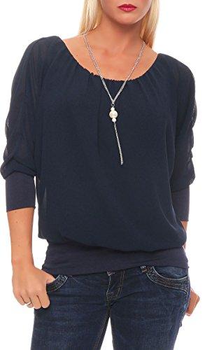 Malito Damen Bluse mit passender Kette | Tunika mit ¾ Armen | Blusenshirt mit breitem Bund | Elegant - Shirt 1133 (dunkelblau)