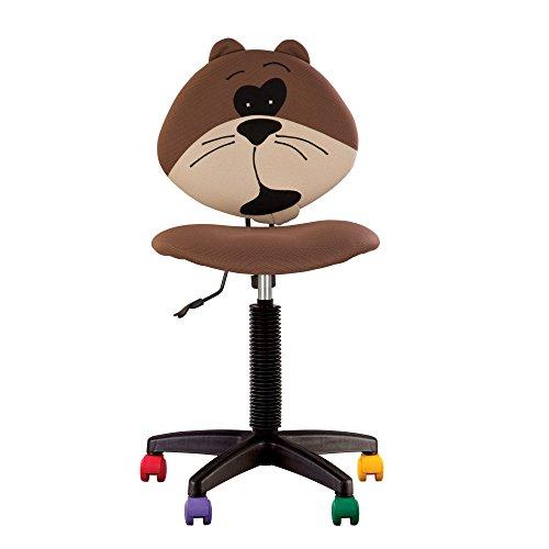 Joy - Chaise DE Bureau Enfant Ergonomique, Hauteur du Dossier RÉGLABLE, Profondeur D'ASSISE RÉGLABLE, roulettes Multicolores. (Beige) (l'ourson Marron)