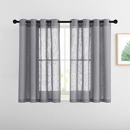 """NICETOWN Linen Sheer Curtains for Bedroom, Short Grommet Top Semi Sheer Window Treatments Vertical Panels for Kitchen/Nursery/Cafe, Grey, 52"""" W by 45"""" L, Sold as 2 Panels"""