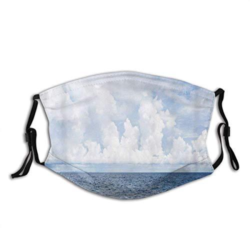 Meeresoberfläche Weiße Wolken Ozean Thema Blau Weiß Sturmhaube Anti-Staub Mund Bandanas Outdoor Camping Laufen mit 2 Filtern für Teen Männer Frauen