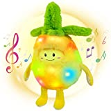 Bstaofy Musical LED Pineapple Plush Light up Yellow Fruit Stuffed Lullabies Nightlight Bedtime Toy for Kids Birthday for Toddlers, 13''
