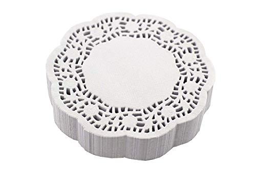 Creativery Tortenspitze rund weiß 10 cm - 250 Stück mit Rosen Design Papieruntersetzer Tropfdeckchen Tassendeckchen Tortenspitzen klein
