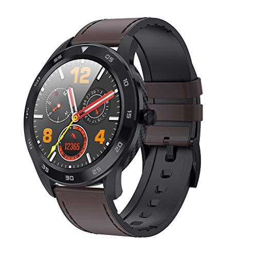 Benbzh Smartwatch met hartslagmeter, stappenteller, calorieblok, bloeddruk, zuurstof, dynamisch hart, slaapmonitor, herenarmband van zinklegering, smartwatch, M, Koffie