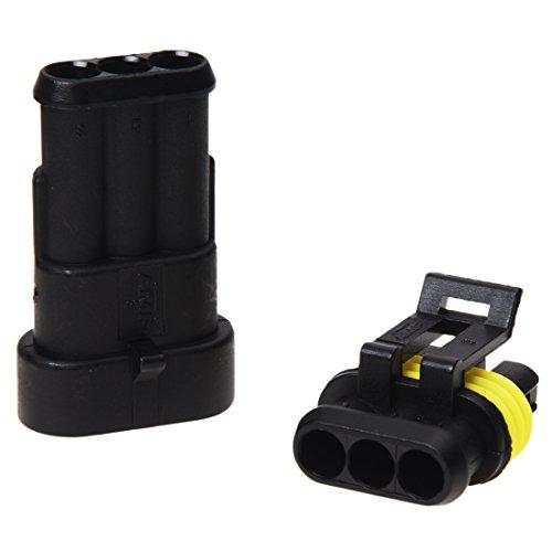 SODIAL(R) 10X Set Conectores Sellado Impermeable 3 Canales Pin para Coche Motos