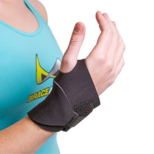 BraceAbility Neoprene Wrist Brace | Ergonomic Compression Support Wrap for Tendonitis Pain, Carpal Tunnel Strain & Arthritis Relief While Typing, Working, Driving (One Size - Fits Right or Left Hand)