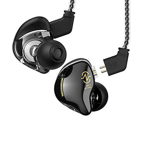 CCZ Coffee Bean in Ear Monitor, auriculares profesionales con aislamiento de sonido HiFi, auriculares con almohadillas patentadas, ajuste seguro en la oreja transparente (sin micrófono, negro)