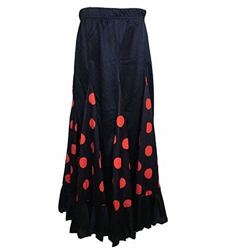 La Señorita Falda Flamenco Danza Sévillane niña Negro con Puntos Rojo (Talla 8-6/7 año)