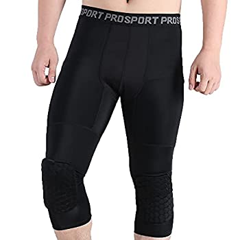 Cantop Tights Pants Leggings with Knee Pads Training Suit Long Leg Sleeves Braces for Basketball Volleyball Football and All Contact Sports Kids Youth Adult Girls Boys Men  Leggings Black X-Large