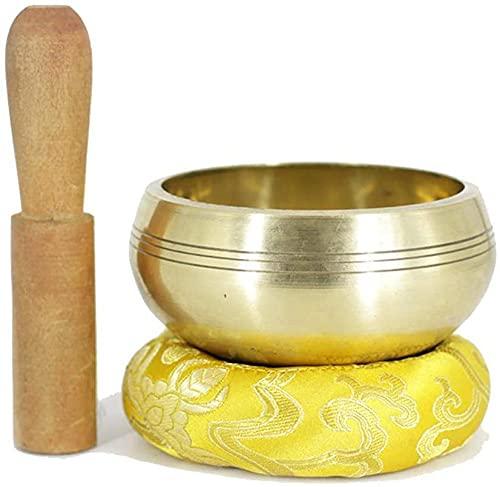 Coppa del tono della tazza del suono tibetano di per la meditazione buddista che guarisce la preghiera di preghiera e la guarigione Deposito di legno/tappetino di seta 9,5 cm